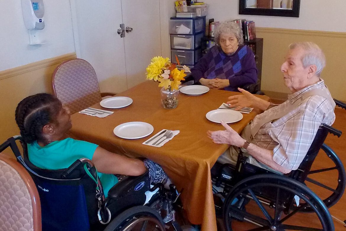 Patients in dining room